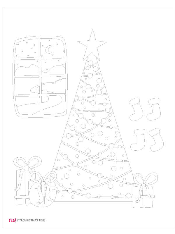 Christmas tree coloring template