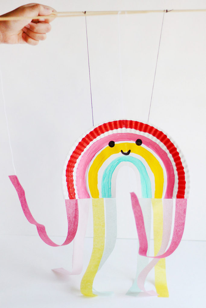 Paper Plate Rainbow Puppet by Handmade Charlotte