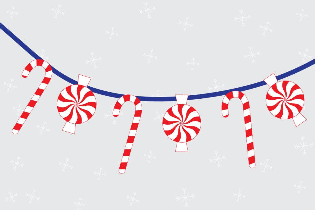 Candy cane and peppermint candy printable