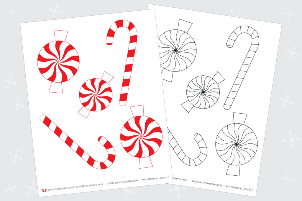 Candy cane and peppermint candy coloring page