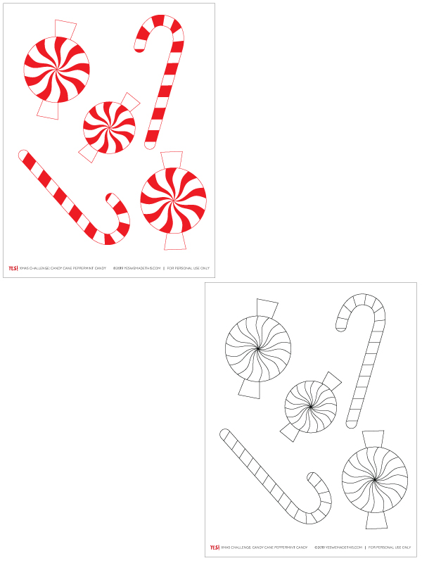 Candy cane and peppermint candy printable coloring sheet