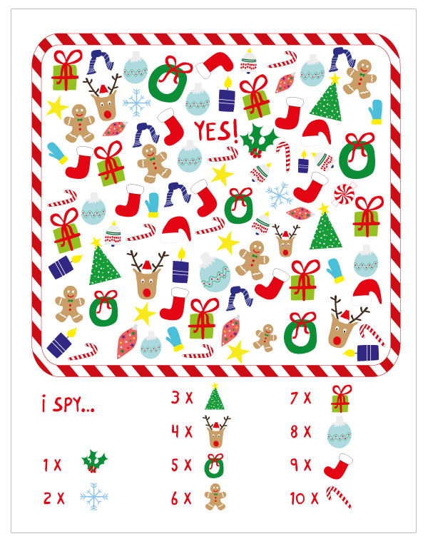 I spy Christmas printable game for toddlers and preschoolers