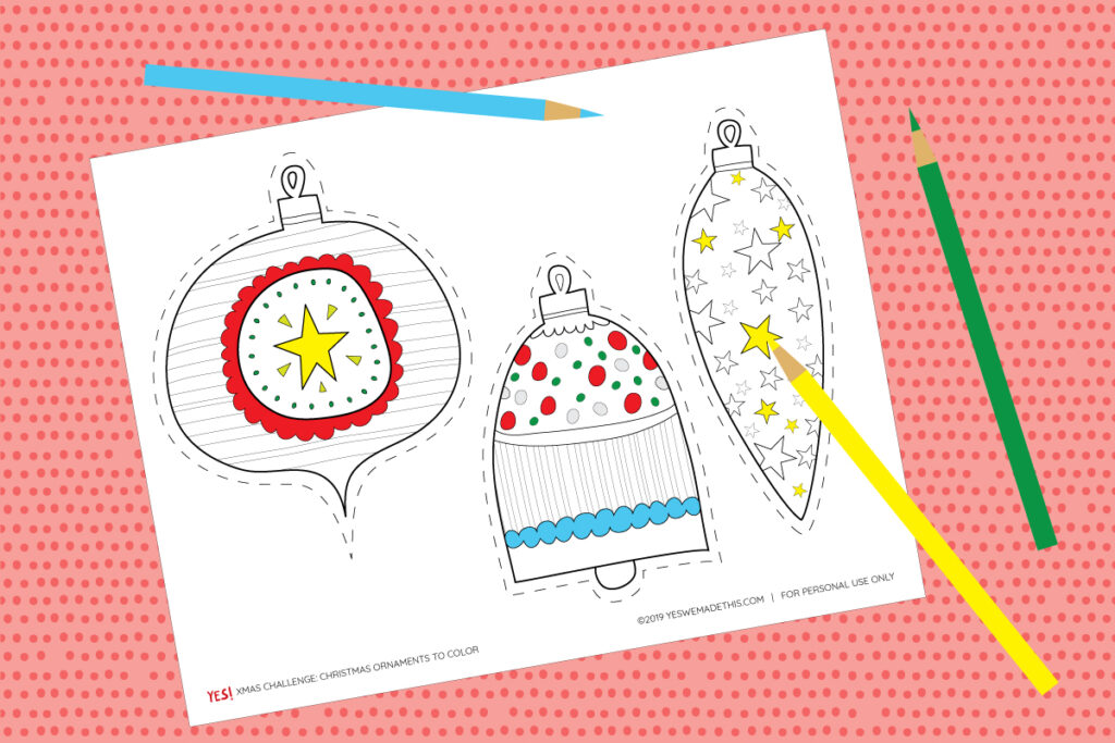 Color your Christmas Ornaments
