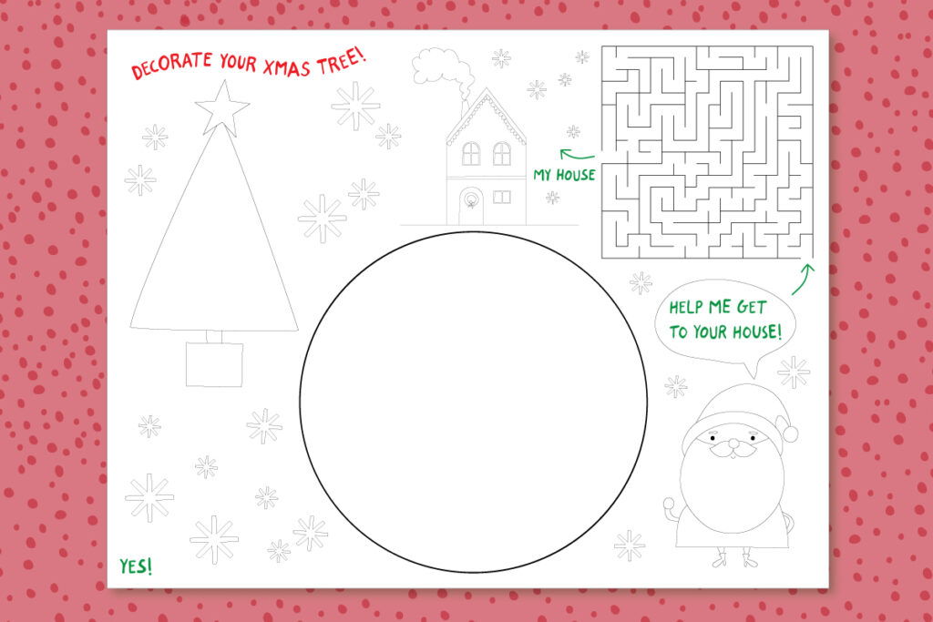 Christmas placemat activity printable