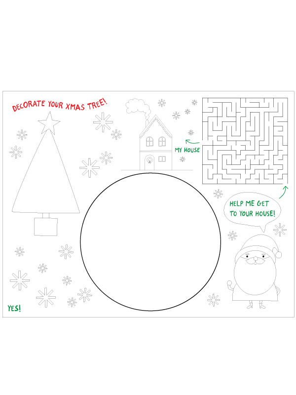 Christmas placemat printable template