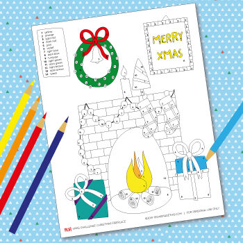 Kids Christmas coloring page template