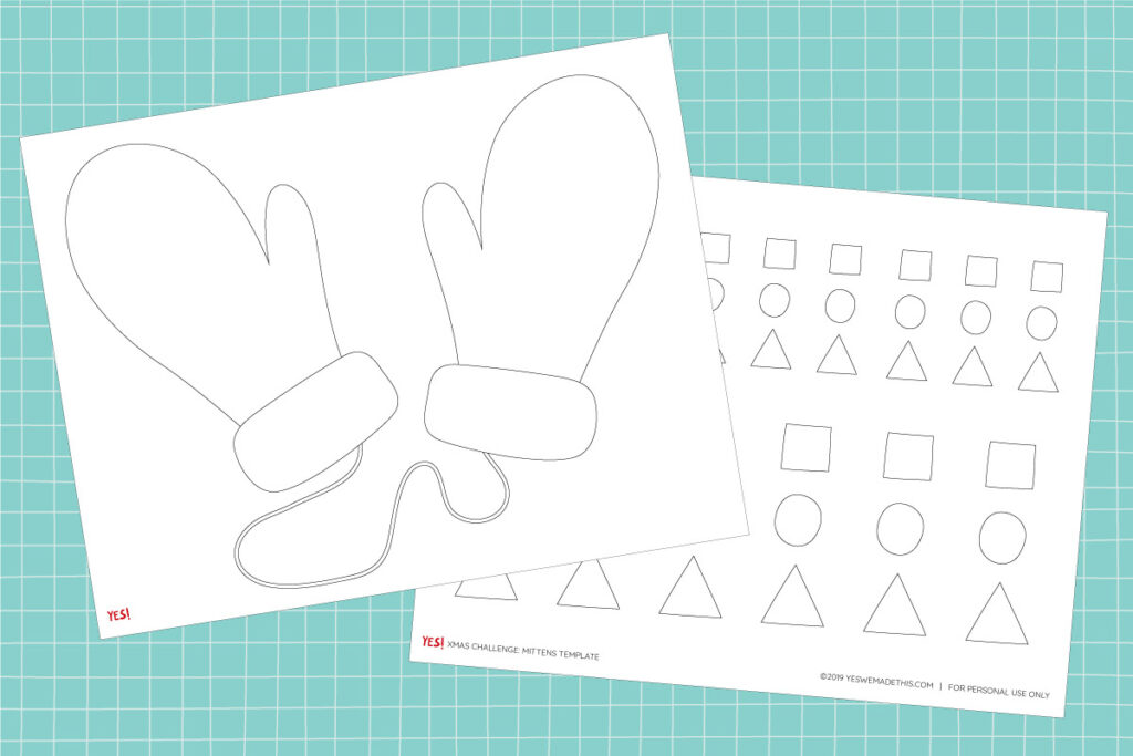 Mittens template and craft printable