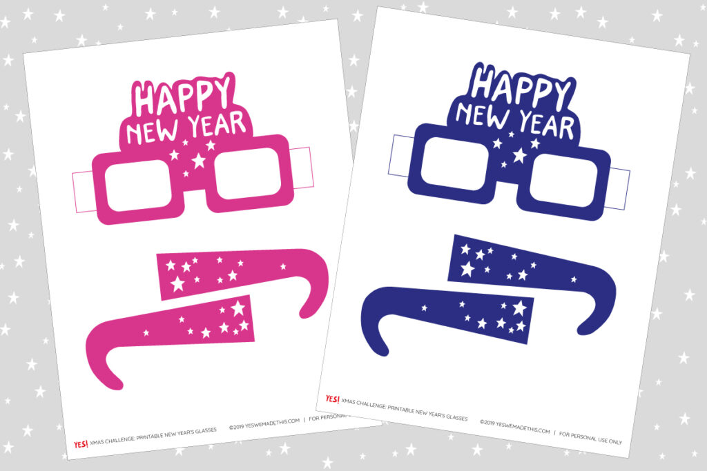 Happy New Year glasses printables