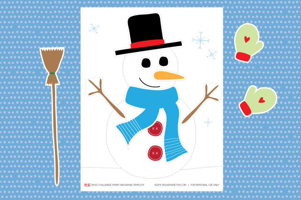 Build your snowman printable craft for kids