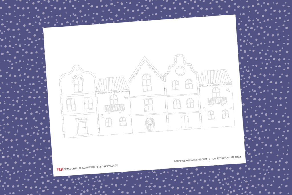 Printable Christmas village craft and coloring page