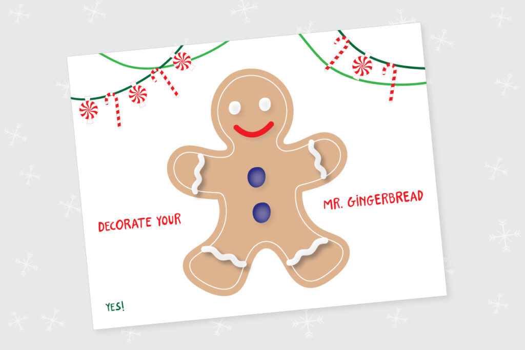 Gingerbread man printable playdoh mat
