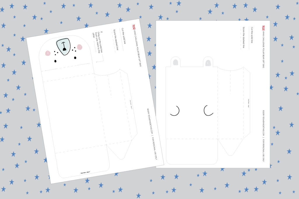 Polar bear favor box printable template