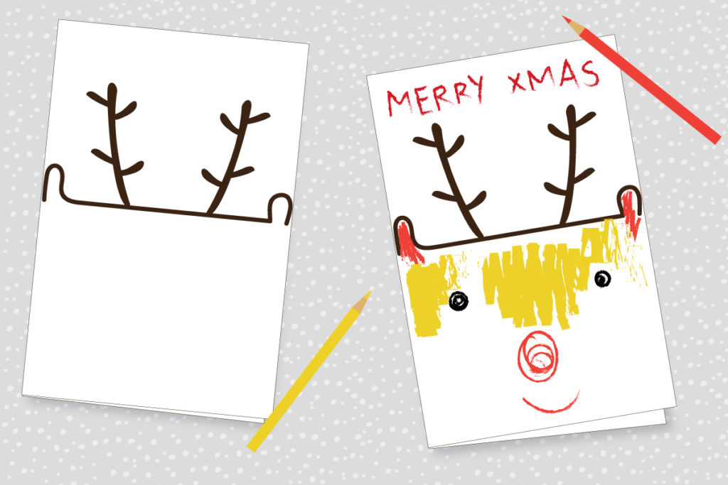 Reinderr Chrismas Card for Kids
