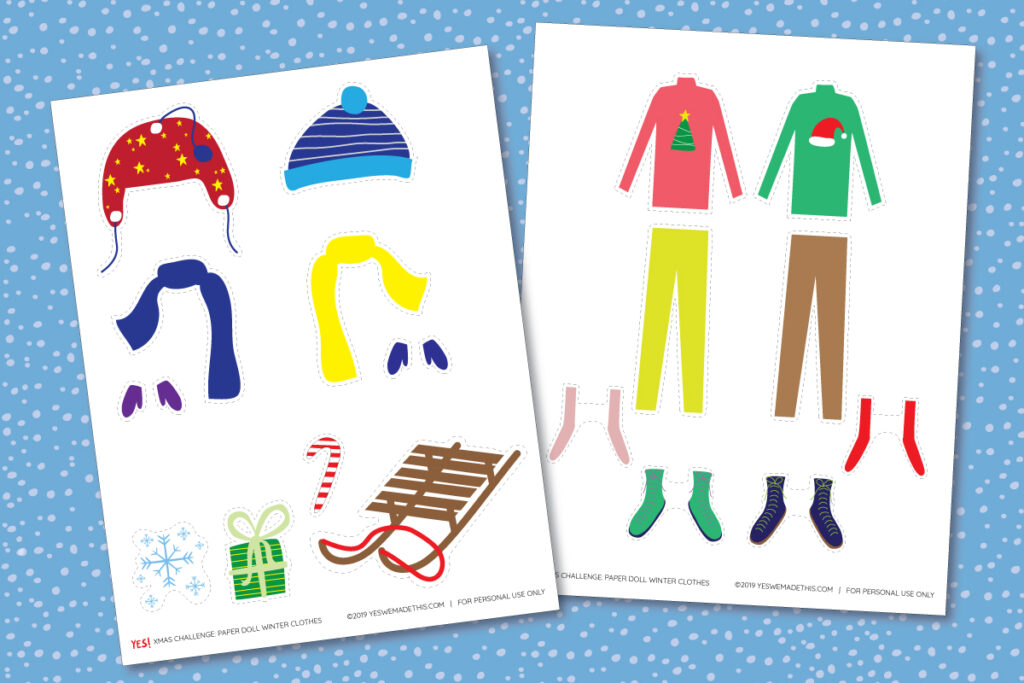 Paper Doll WInter CLothes template