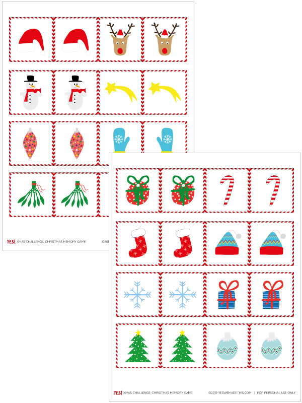 CHristmas Memory Game Template