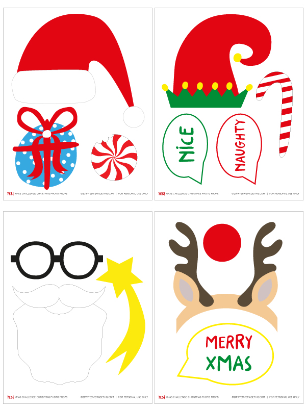 Christmas photo props printable