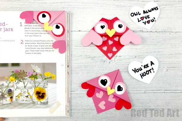 Valentine's Owl Corner Bookmarks by Red Ted Art