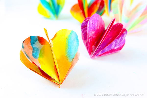 3D Hearts by Babble Dabble Do via Red Ted Art