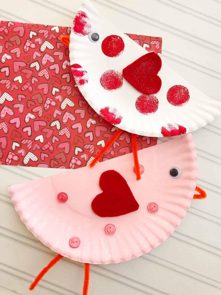 Paper Plate Valentines Bird